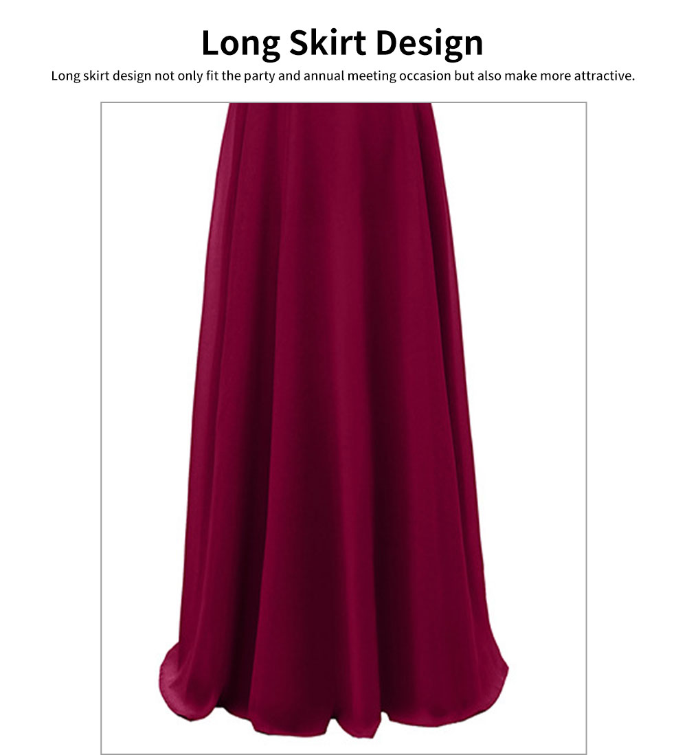 Condole Belt Dress for Women, Elegant Flounces Long Skirt, Classic Color Chiffon Sexy Annual Meeting Dresses 3