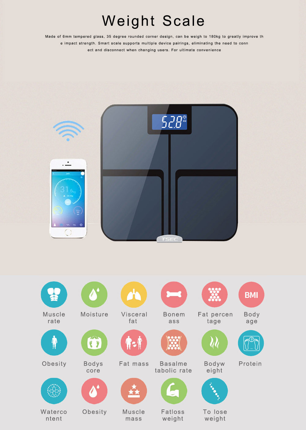 Bluetooth Body Fat Scale Smart Wireless Digital Bathroom Weight Scale Body Composition Analyzer Health Monitor 0