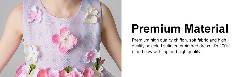 3D Flower Girls Princess Dress, Sleeveless Tulle Birthday Party Dress Best Gifts for Girl 4