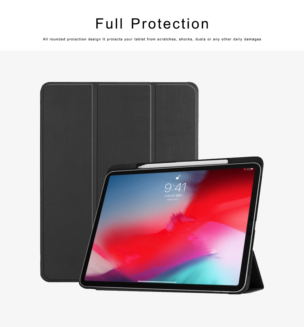 Folio Protective Case for iPad Pro 11 Multiple Angles Stand Smart Protective Cover Trifold Stand Smart Shell with Apple Pencil Slot 4