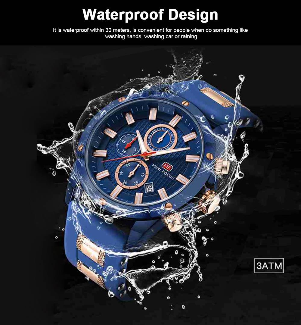 MINI FOCUS Fashion Male Quartz Watch Men Chronograph 3 Sub-dials 6 Hands Calendar Silicone Strap Waterproof 30 Meters Sport WristWatch 1