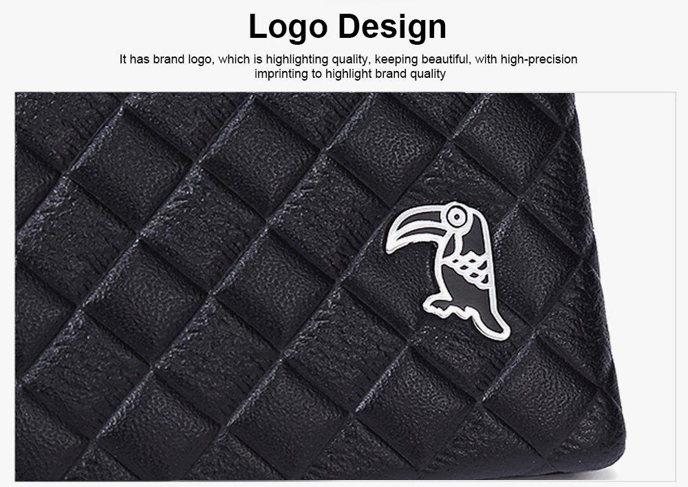 Fashion Men' s Wallet Short Money Card Holder Business Genuine Leather Wallet, Simple Rhomboids Folding Men' s Wallet 3