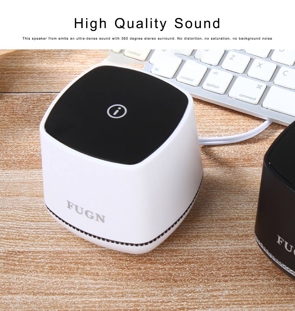 USB Speakers with 3D Sound Quality, Portable Mini Computer Speaker, Stereo Speakers for Phone iPod Laptop 2