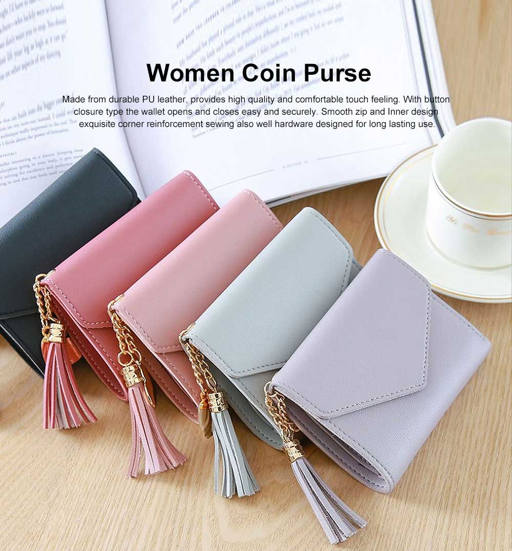 Women Coin Purse with Retro Tassel Pendant Ladies PU Leather Purse Women Fashion Accessories Short Travel Clamshell Purse Clutch 0