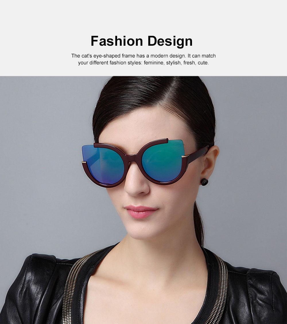 Oversized Cat Eye Sunglasses Creative Lightweight Thick Frame Sunglasses Polarized Trendy Mirrored Lens for Women 1