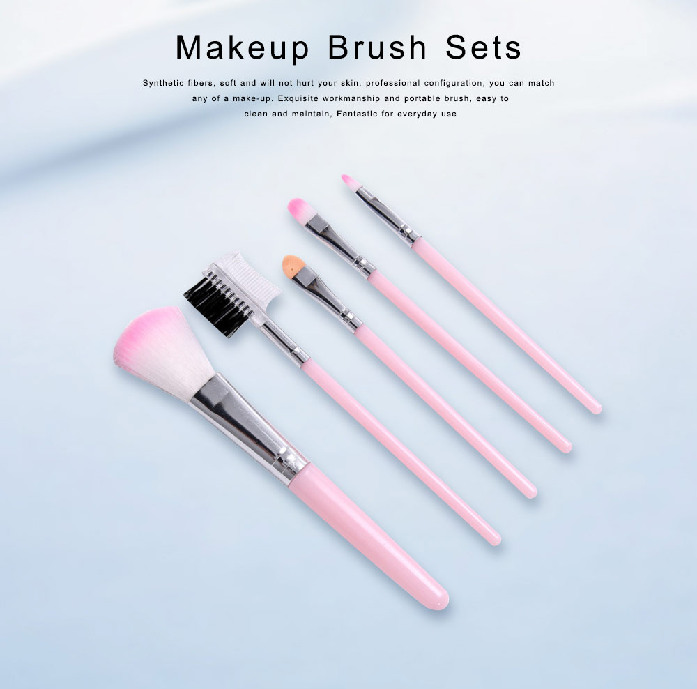 Makeup Brush Sets 5 PCS Make up Brushes for Beginner Makeup Brushes Set Fluffy Crease Cosmetic Brush Set 0