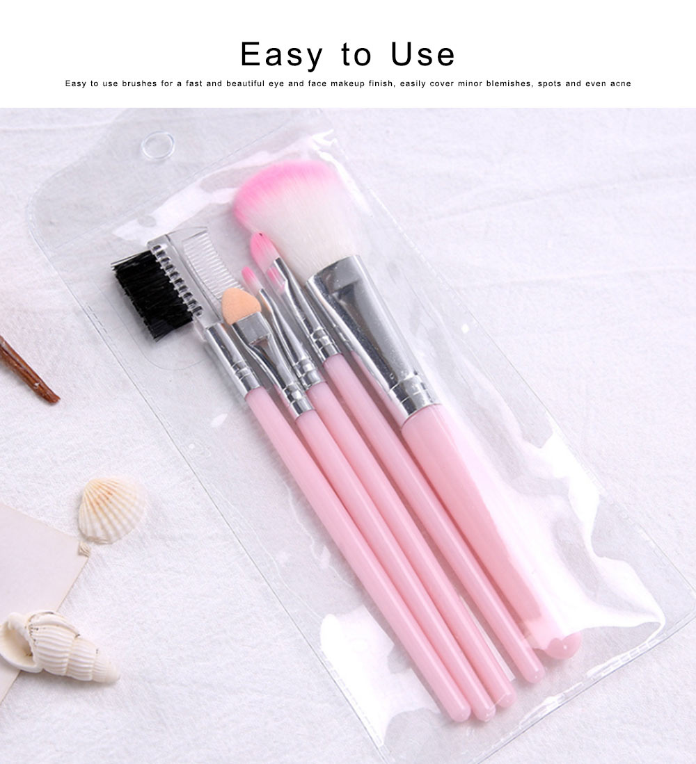 Makeup Brush Sets 5 PCS Make up Brushes for Beginner Makeup Brushes Set Fluffy Crease Cosmetic Brush Set 1