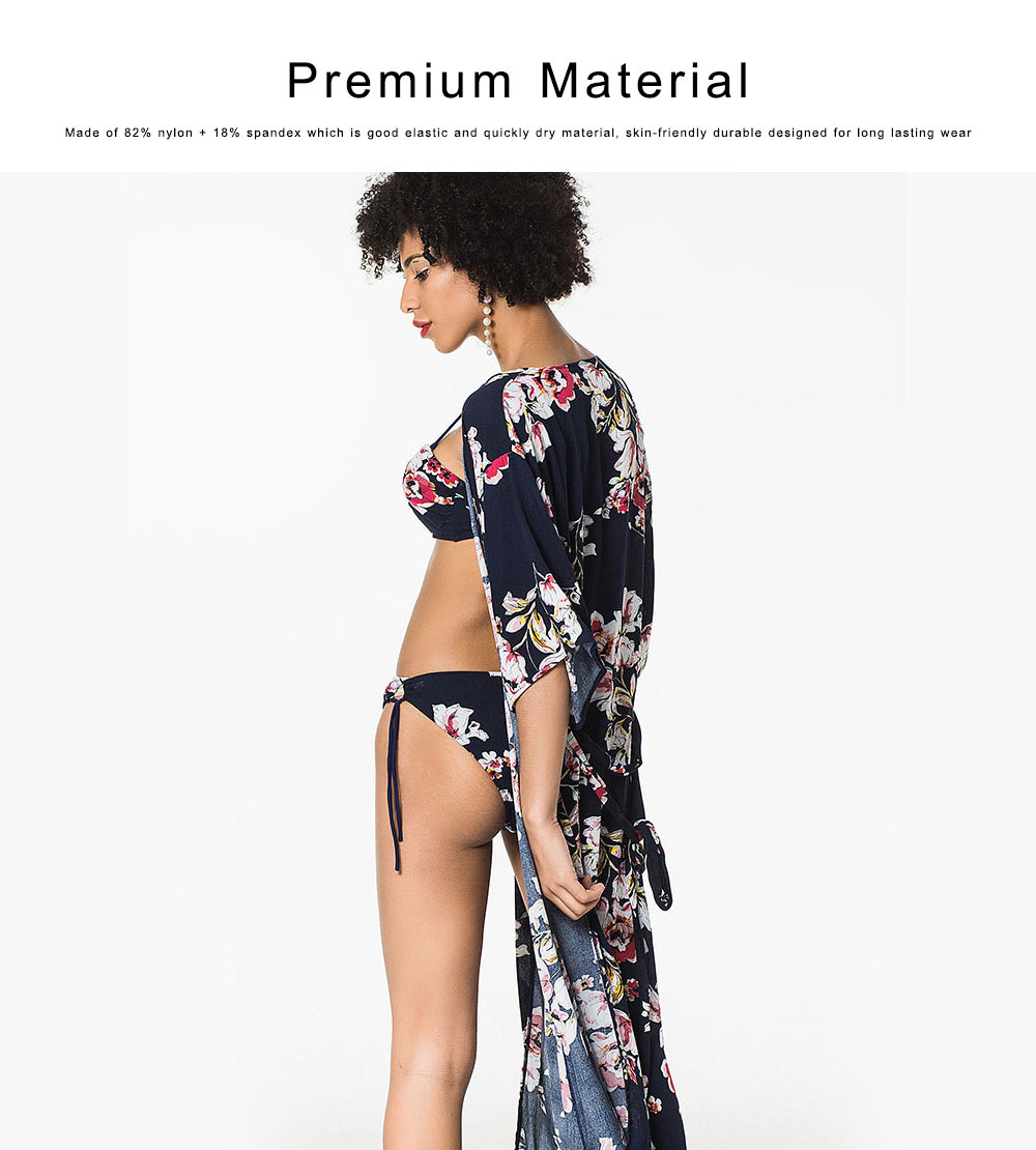 Women Sexy Three Piece Swimsuits, Floral Printed Bikini Set, Summer Beach Poncho Cover up Dress 3