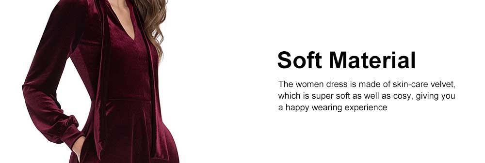 Women Choker V-Neck Velvet Dress Flare Long Sleeve Elegant A Line Dress with Bowknot Design 2