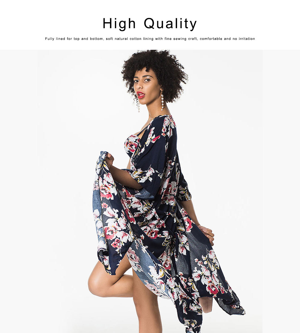 Women Sexy Three Piece Swimsuits, Floral Printed Bikini Set, Summer Beach Poncho Cover up Dress 2