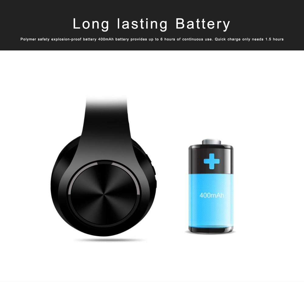 Bluetooth 4.2 Sport Headset Over Ear Headphones Lightweight Stereo Wireless Headphones earphone with 20m Transmission Range 4