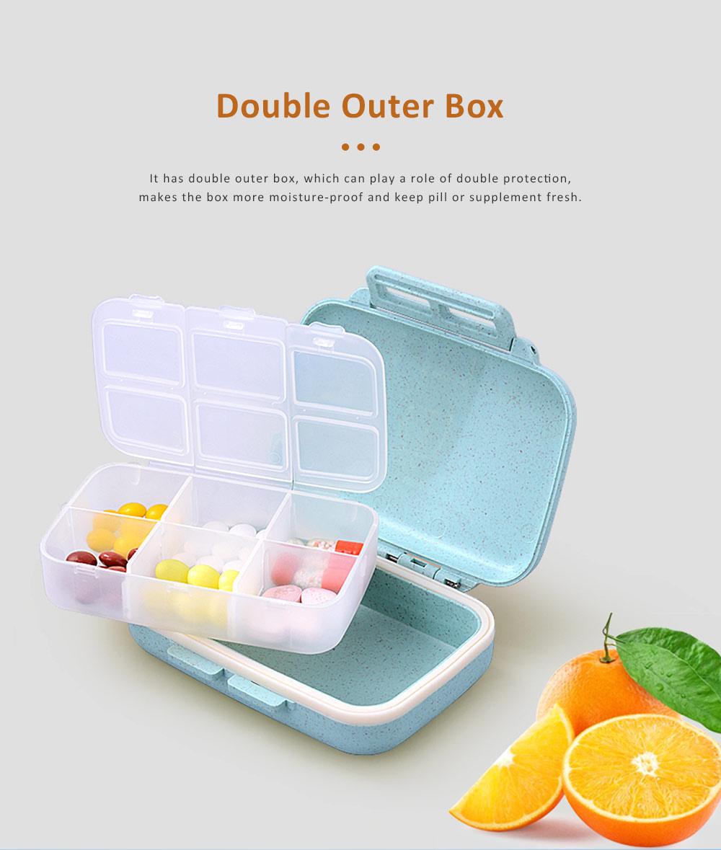 Portable Health Pill Box Wheat Fiber+ PP Material Cartridge, Mini Sealed Pill Box, Case Organizer, Medicine Container 1