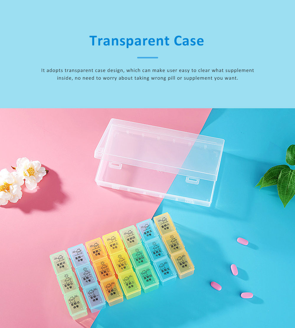 Weekly Pill Case for Home Travel, Monthly Pill Case Organizer, Food Grade Pill Case for Elderly and Children Medicine Container 3