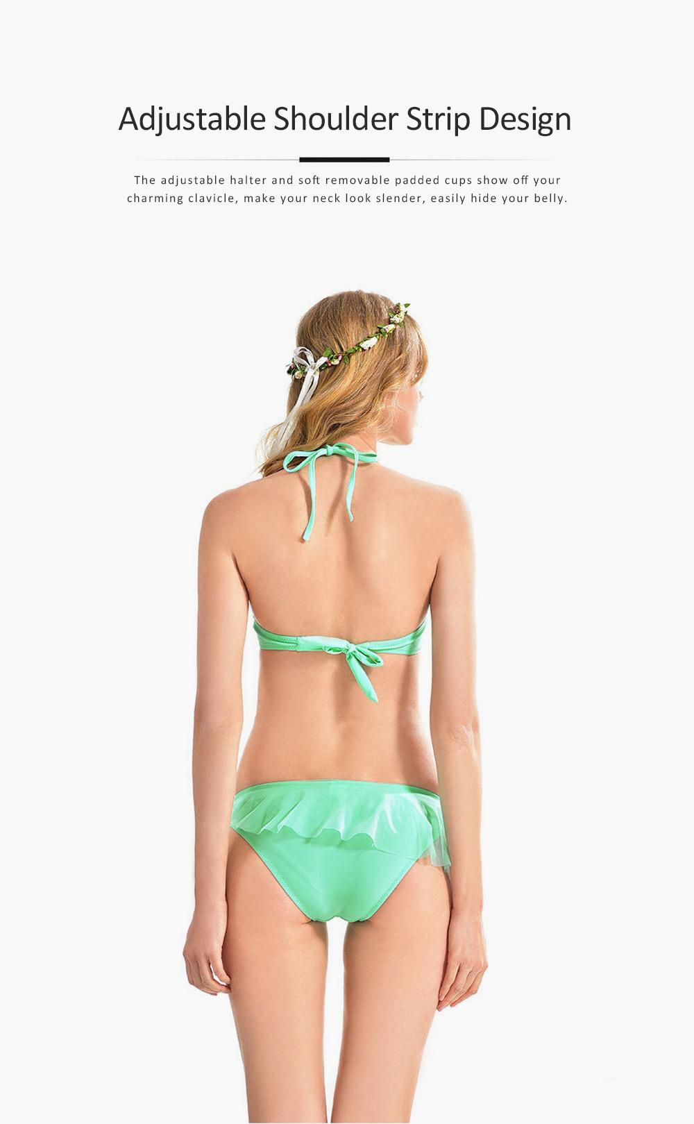 Ladies Ruffled Bikini, Solid Triangle Swimsuit for Ladies, Lace Halter Bikini Set Beach Swimming Suit 2