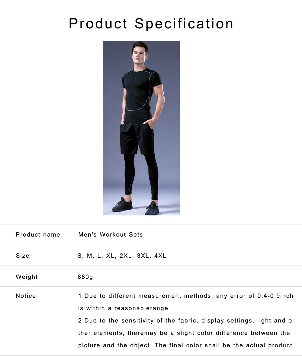 Men's Workout Sets with Compression Pants, Long & Short Sleeve Shirts and Loose Fitting Shorts 4 PCS 6