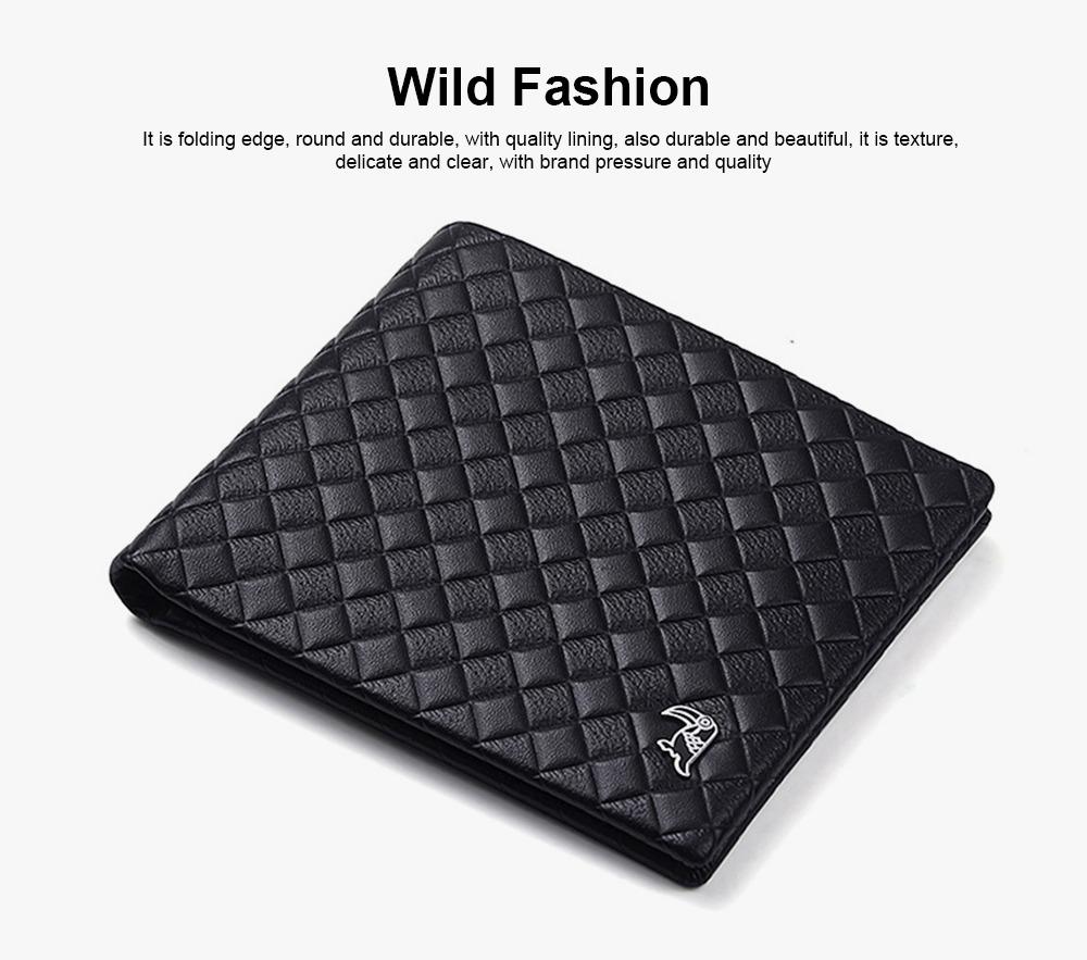 Fashion Men' s Wallet Short Money Card Holder Business Genuine Leather Wallet, Simple Rhomboids Folding Men' s Wallet 1