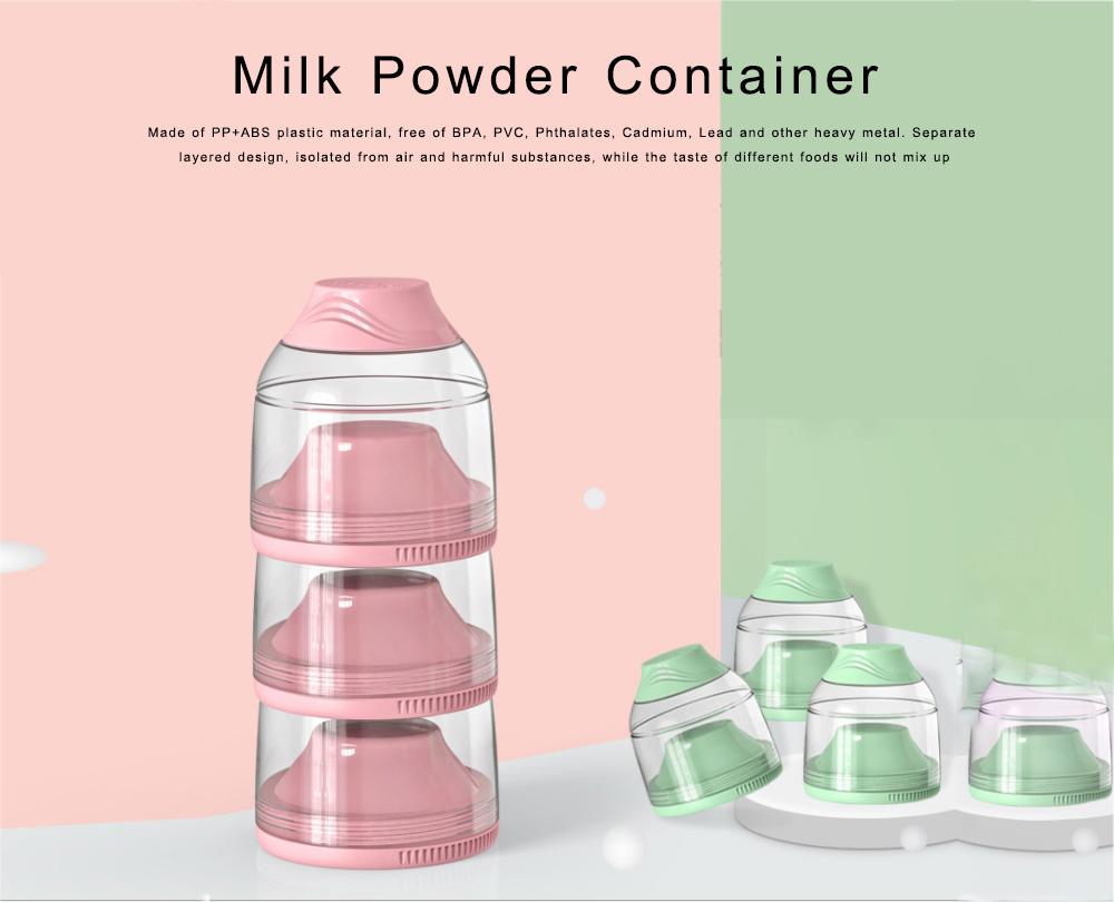 Milk Powder Container 3 Separated Layers Milk Powder Pot Box Portable Formula Milk Storage Dispensers for Infant Toddler Children 0