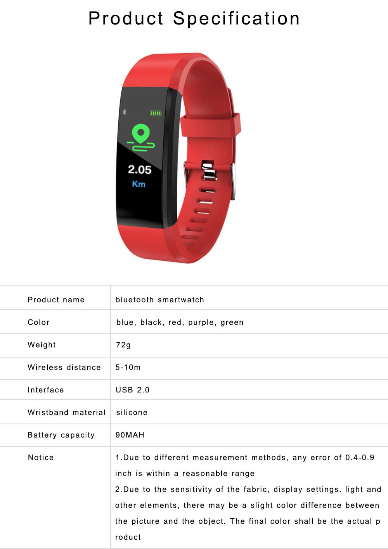 Bluetooth Smart Sports Bracelet, Waterproof Smart Activity Tracker Smartwatch Wristband for Men Women 6
