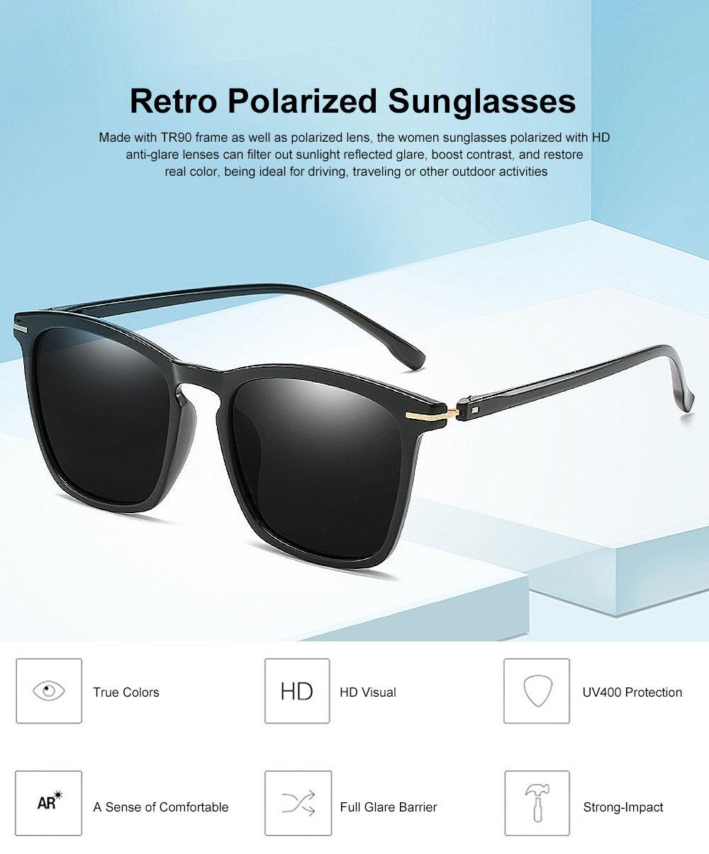Retro Polarized Sunglasses Vintage Style with UV400 Protection & Anti-Glare Lens for Women 0
