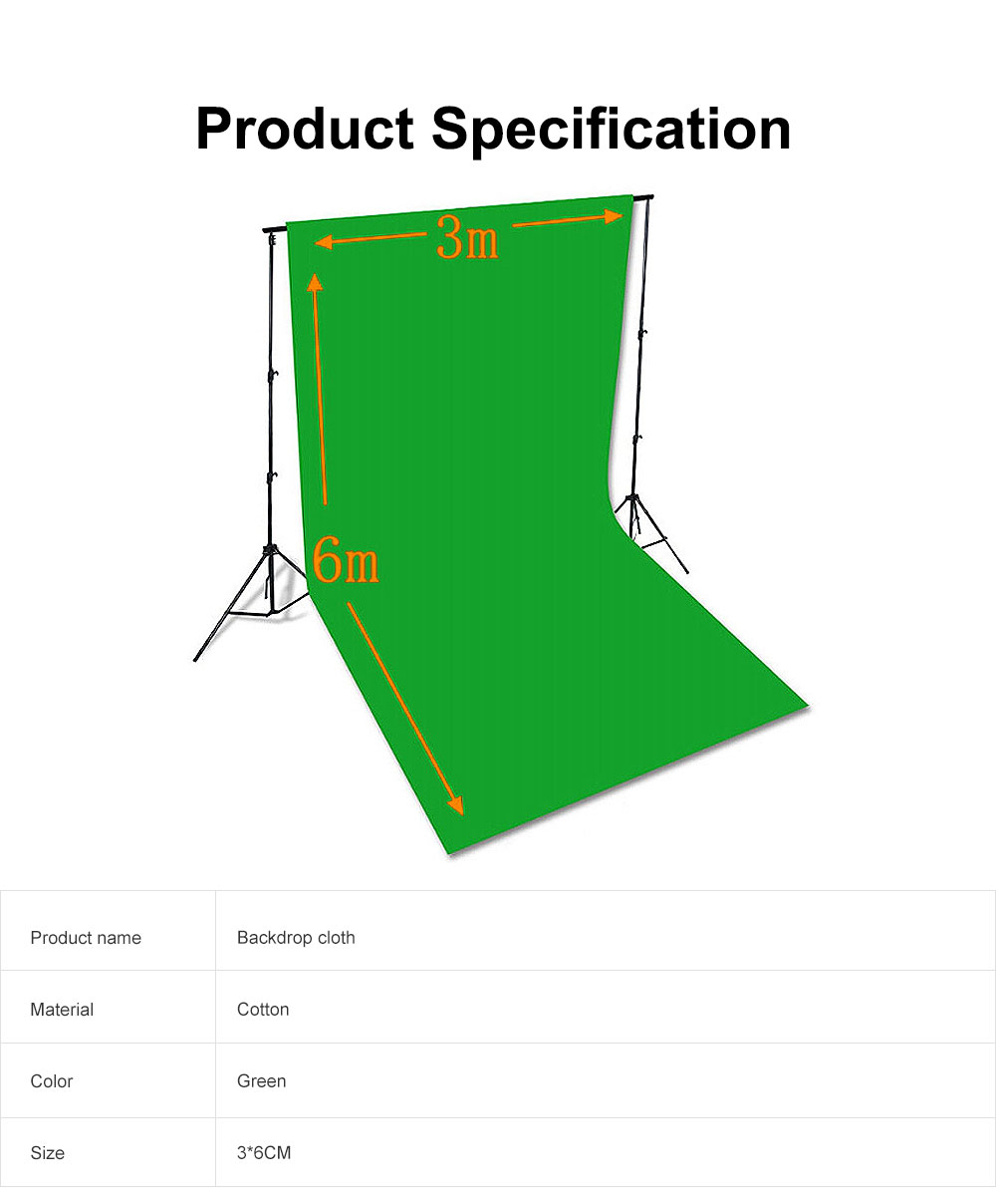 Green Screen Soft Cotton Cloth Studio Background ID Photo Photography Washable Backdrop 3x6M 6