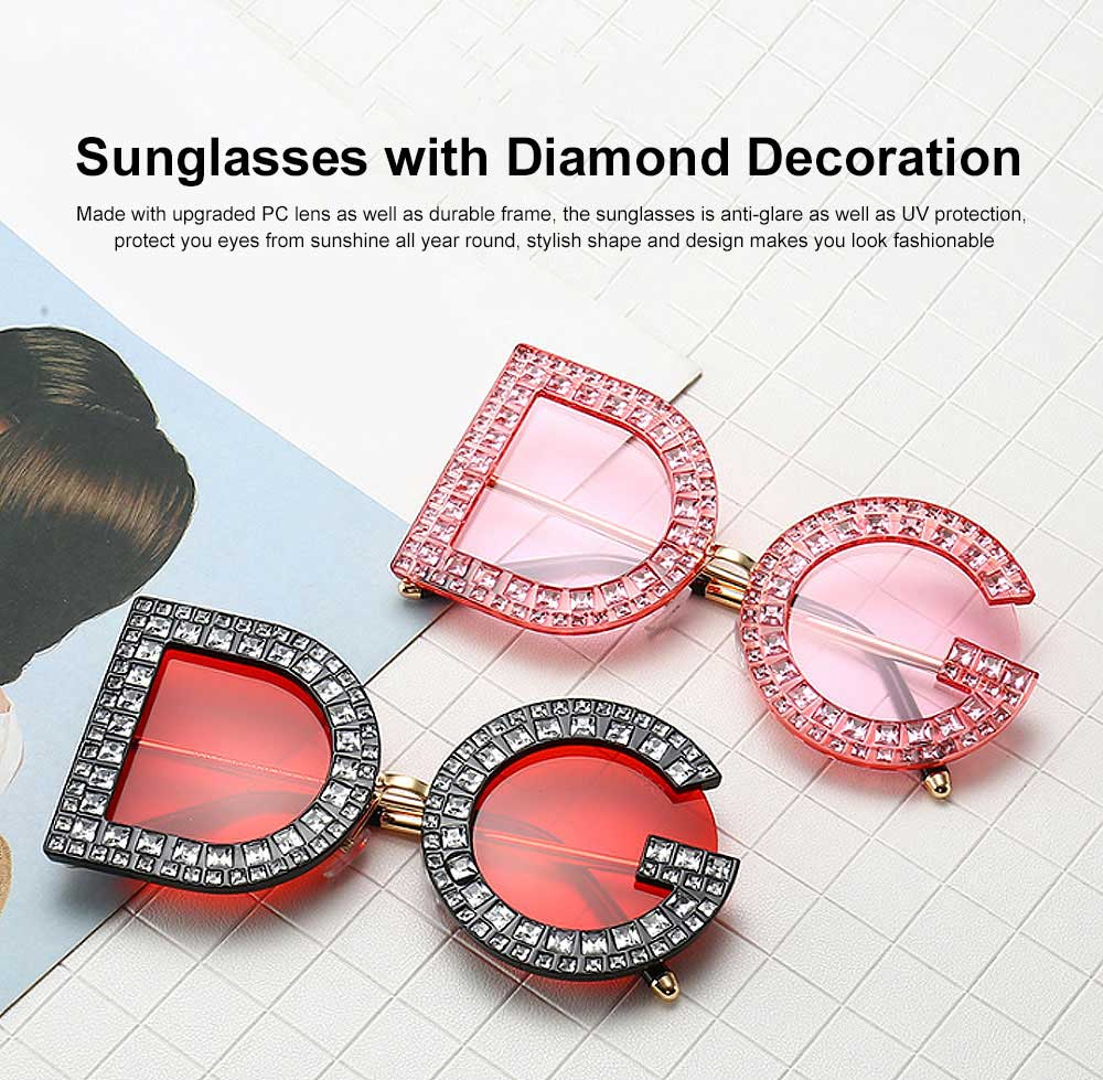 Sunglasses with Diamond Decoration Anti-Glare UV Protection PC Lens Stylish Design for Women 0