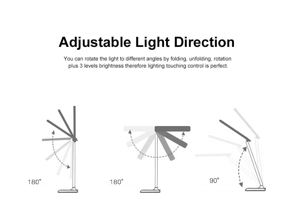 LED Reading Light Portable Rechargeable Touching Desk Light Adjustable Table Lamp Bedside Lamp with 3 level Brightness 1