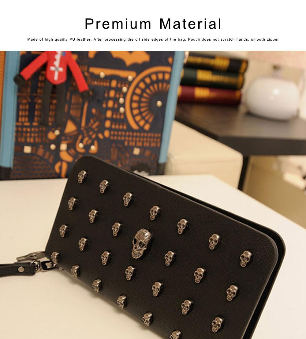 Women Purse Vintage Punk Skull Bag Ladies PU Leather Wallets Long Travel Purse Wristlet Clutch 3
