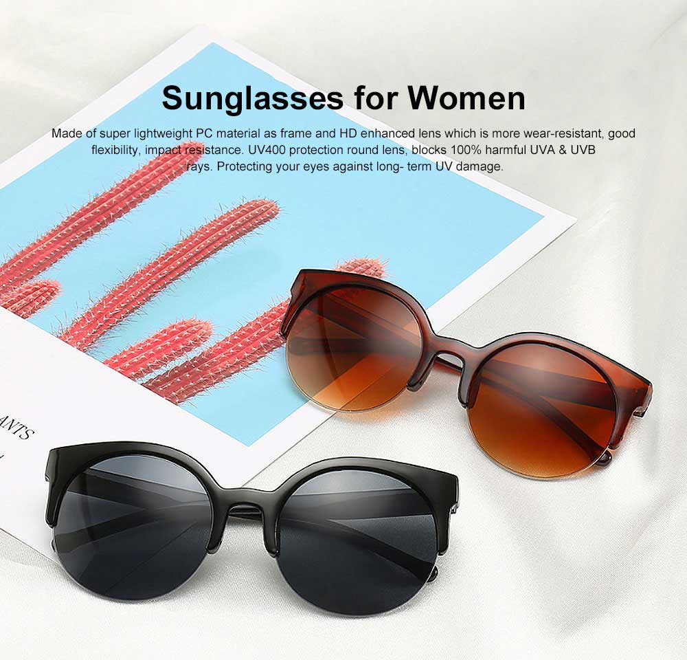 2019 Hot Oversized Cat Eye Sunglasses Retro Lightweight Thick Half Frame Sunglasses Polarized Lens for Women 0