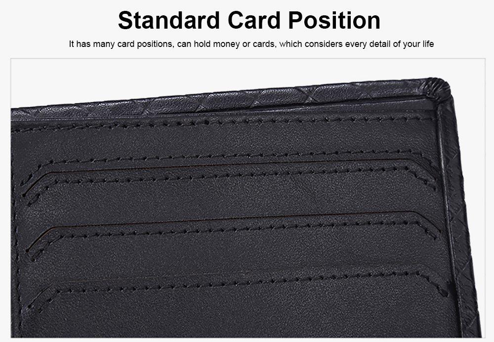 Fashion Men' s Wallet Short Money Card Holder Business Genuine Leather Wallet, Simple Rhomboids Folding Men' s Wallet 4