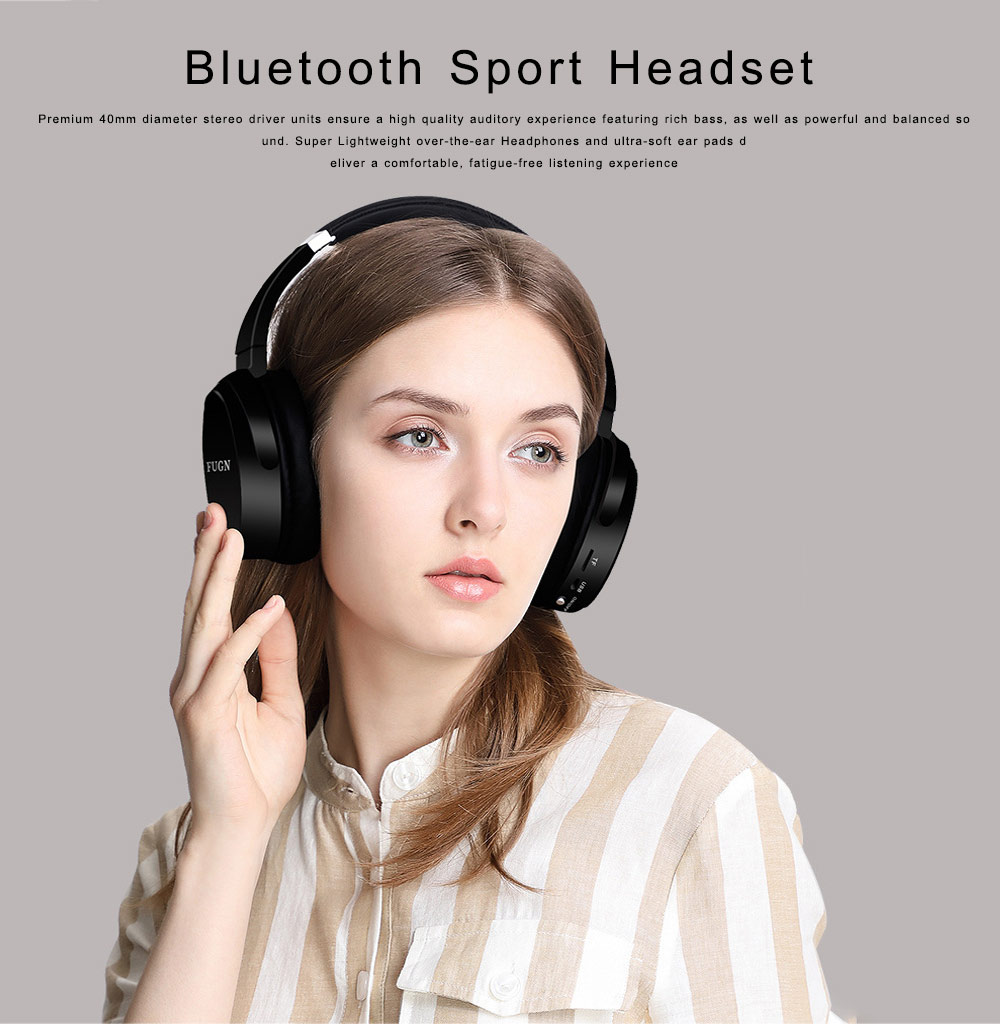 Bluetooth 4.2 Sport Headset Over Ear Headphones Lightweight Stereo Wireless Headphones earphone with 30-60m Transmission Range 0