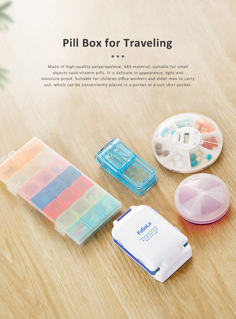 Layer Folding Portable Pill Box for Travelling Outdoor Vitamin Holder Container V-shape Pill Cutter 0