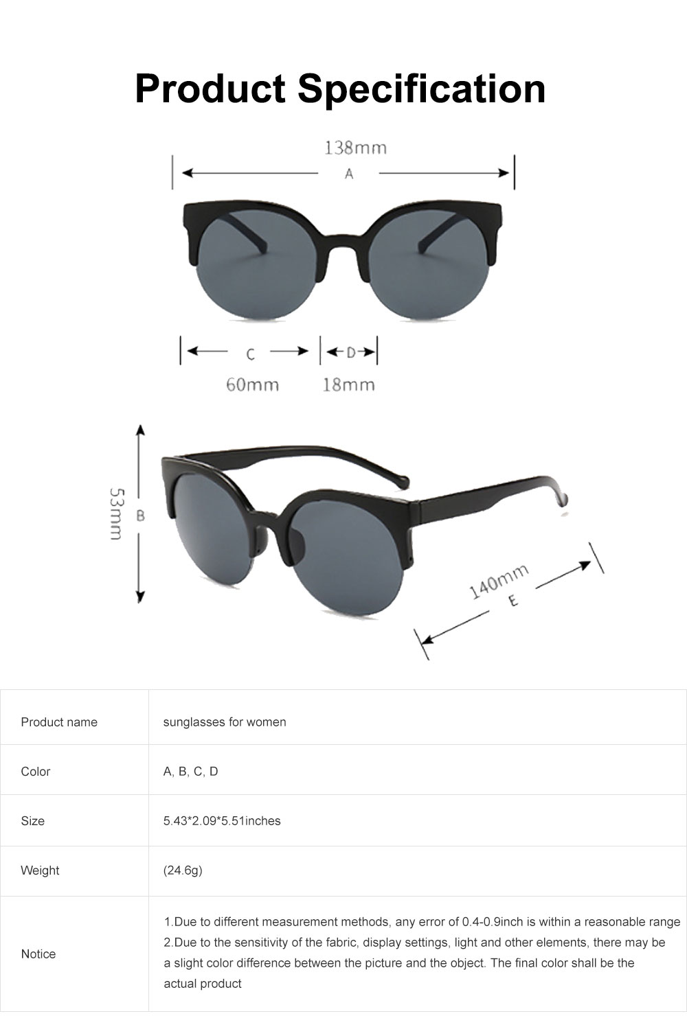 2019 Hot Oversized Cat Eye Sunglasses Retro Lightweight Thick Half Frame Sunglasses Polarized Lens for Women 6