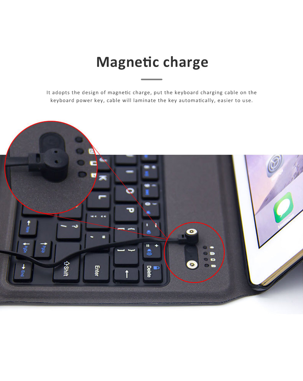 Bluetooth Keyboard Magnetic Flip Case for iPad Air 1, iPad Air 2, iPad Pro 9.7, iPad 9.7 2018, iPad 9.7 2017, Ultra- Thin Split Type New iPad 9.7 Colorful Backlit External Bluetooth Protective Cove 1