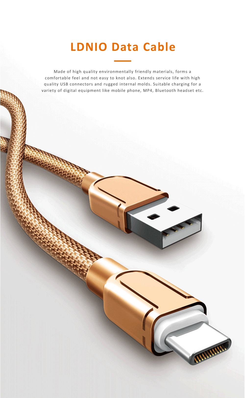 1M Type C Fast Charging Metal USB Cable, USB Data Cable with Zinc Alloy Connector, LDNIO Compatible Data Line 2 Colors 0