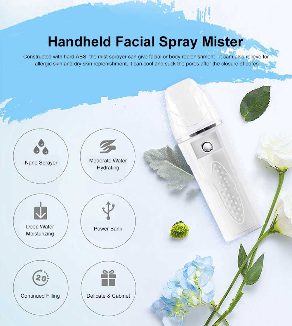 Nano Mist Sprayer Handheld Facial Spray Mister Face Steamer Daily moisturizer Mini portable for Strong Deep Moisturizing 0