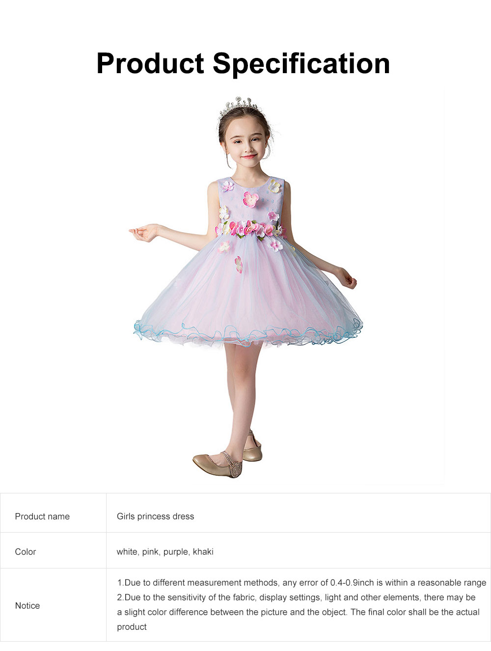 3D Flower Girls Princess Dress, Sleeveless Tulle Birthday Party Dress Best Gifts for Girl 6