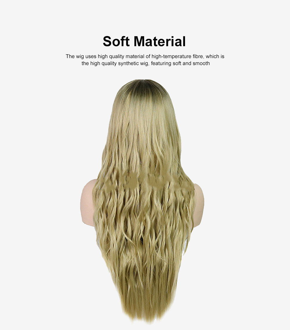 Synthetic Lady Wig Natural Looking Long Wavy Style Heat Resistant Replacement Wig for Women Gold Platinum Pink Colors Option 1