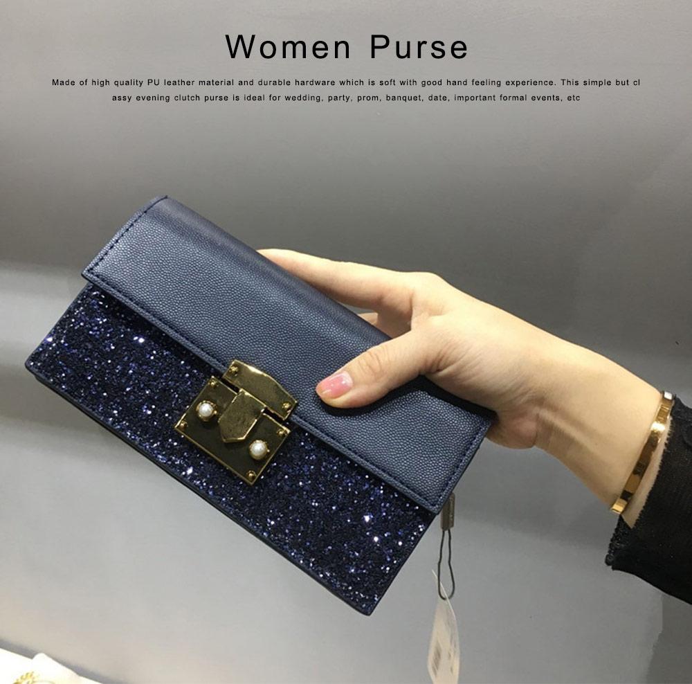 Women Long Purse Vintage Ladies PU Leather Wallets Sequin Handbags Slim Clutch Bag Make Up Bag Banquet Bag 0