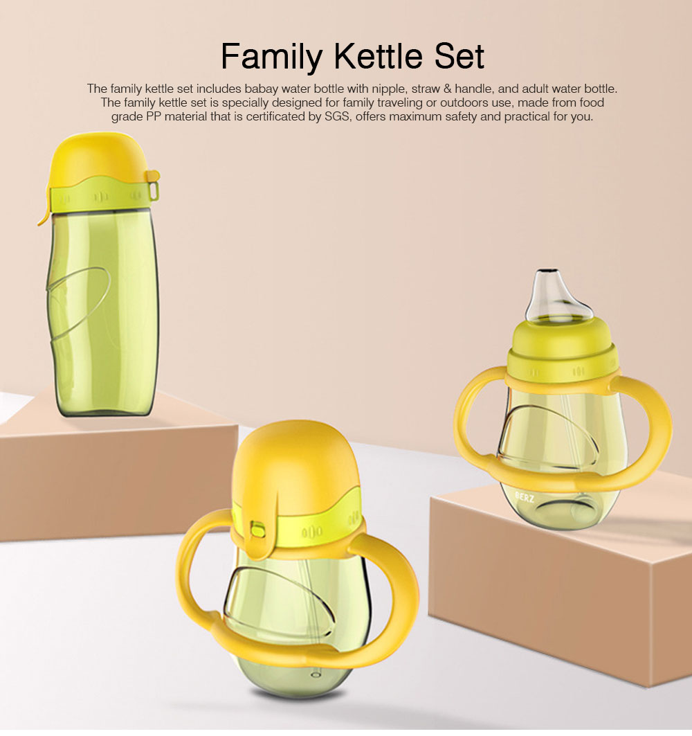 Family Kettle Set for Outdoors Traveling, 2PCS Family Bottle Set include Baby Water Bottle with Nipple, Adult Water Bottle, Water Bottle Set 2PCS 0