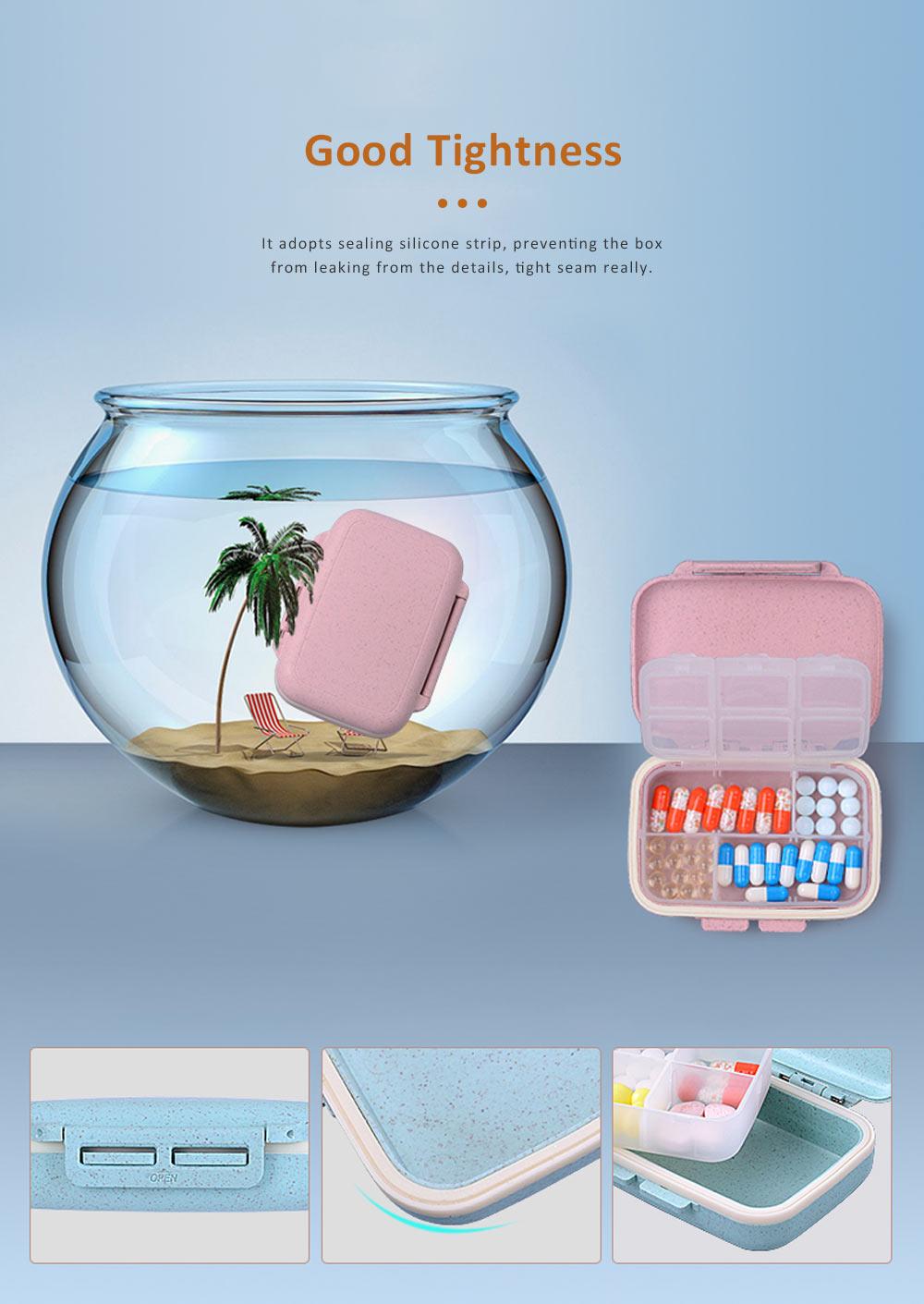 Portable Health Pill Box Wheat Fiber+ PP Material Cartridge, Mini Sealed Pill Box, Case Organizer, Medicine Container 2