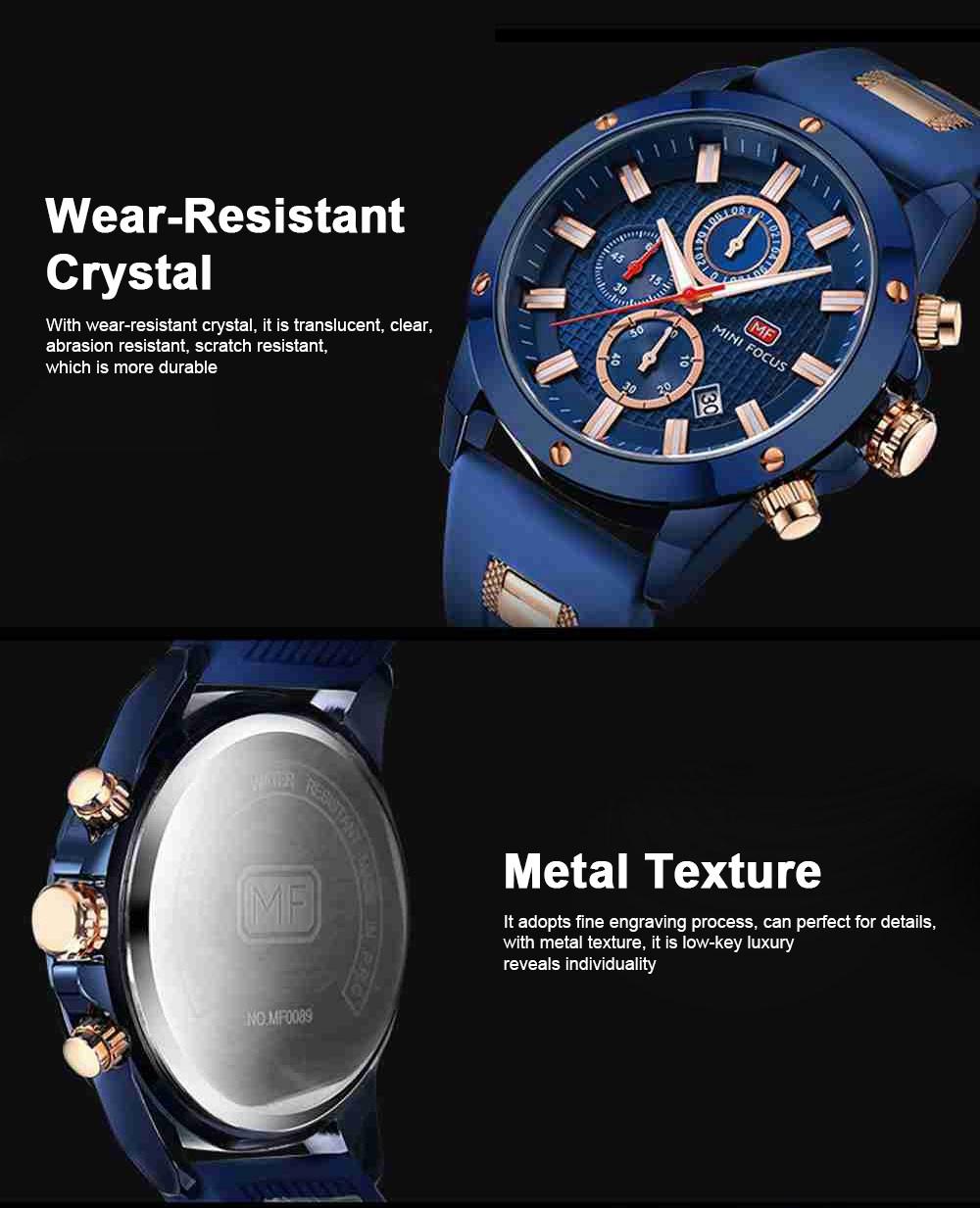 MINI FOCUS Fashion Male Quartz Watch Men Chronograph 3 Sub-dials 6 Hands Calendar Silicone Strap Waterproof 30 Meters Sport WristWatch 3