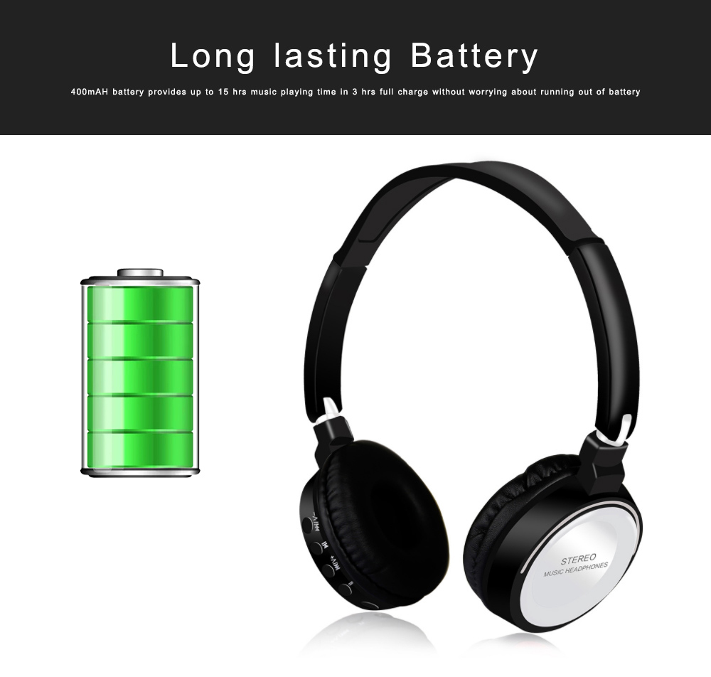 Bluetooth V4.2 Headset, Wireless Hi-Fi Stereo Noise Cancelling Over-ear Headphone with Built in Microphone 4