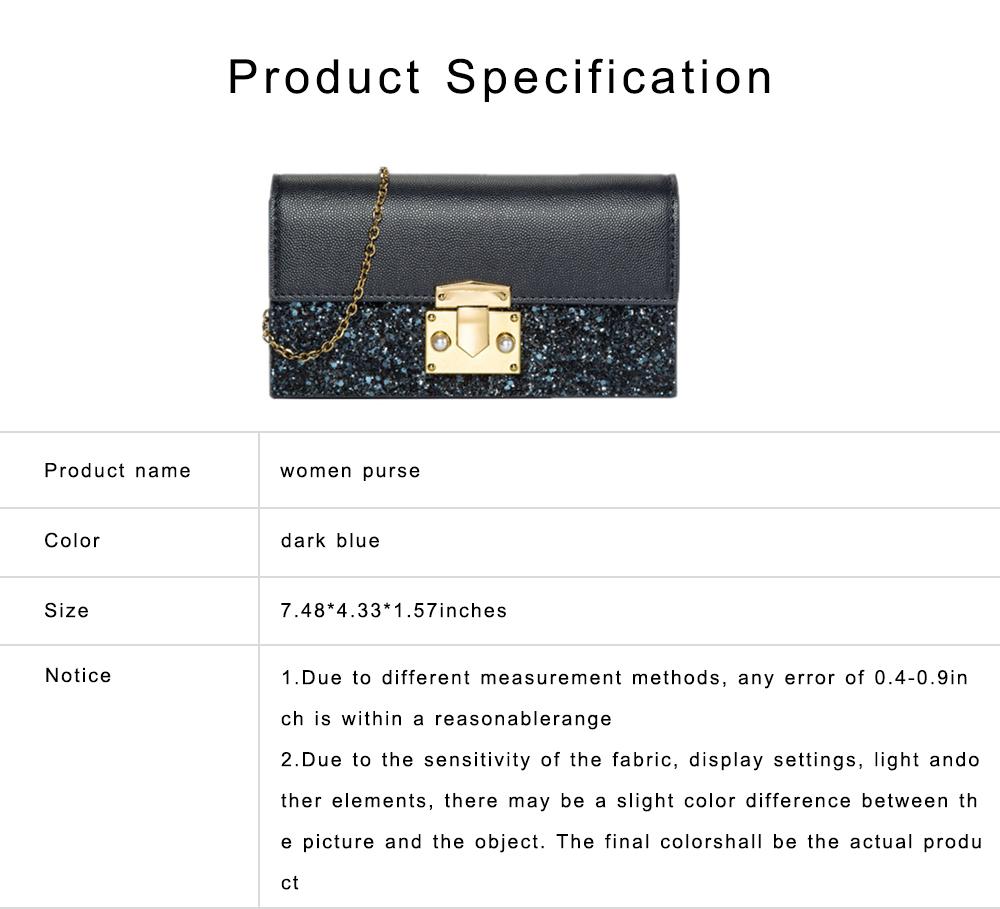 Women Long Purse Vintage Ladies PU Leather Wallets Sequin Handbags Slim Clutch Bag Make Up Bag Banquet Bag 6