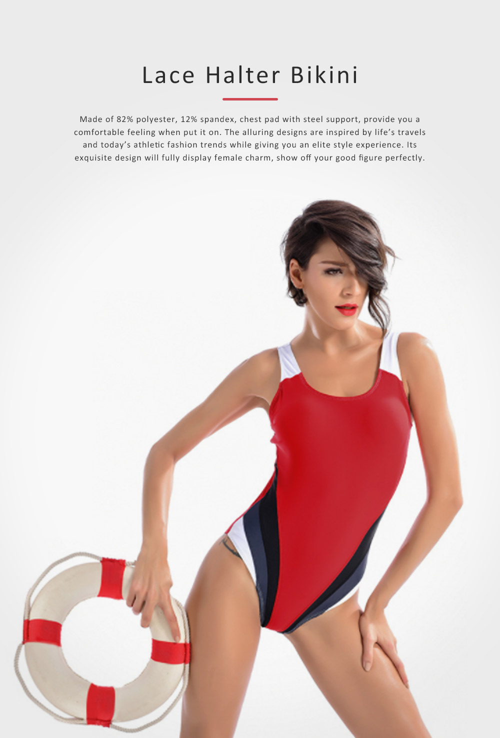 One-piece Women Swimsuit for Beach, Swimming Pool, Constrast Color Backless Swimwear 0