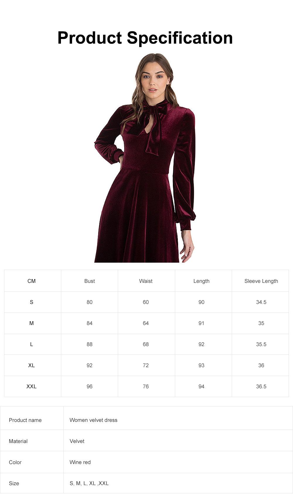 Women Choker V-Neck Velvet Dress Flare Long Sleeve Elegant A Line Dress with Bowknot Design 6