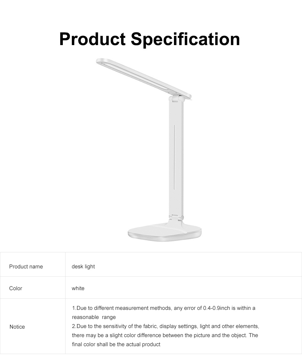 LED Reading Light Portable Rechargeable Touching Desk Light Adjustable Table Lamp Bedside Lamp with 3 level Brightness 6