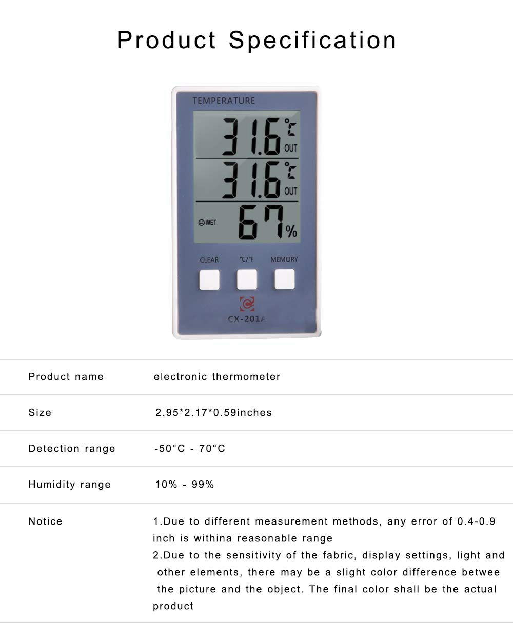 Electronic Thermometer, Indoor Outdoor Digital Fish Tank Thermometer Temperature Humidity Gauge with Big LCD Screen 6