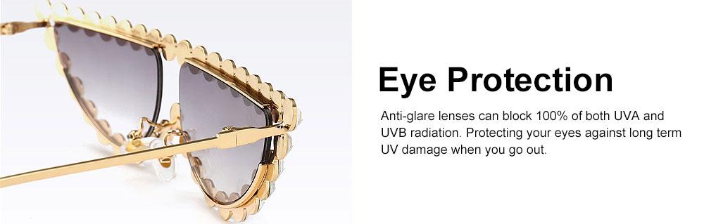 Women's Diamond Sunglasses Vintage Cat Eye Thin Metal Frame Sunglasses Fashion Accessories for Lady Women Girl 4