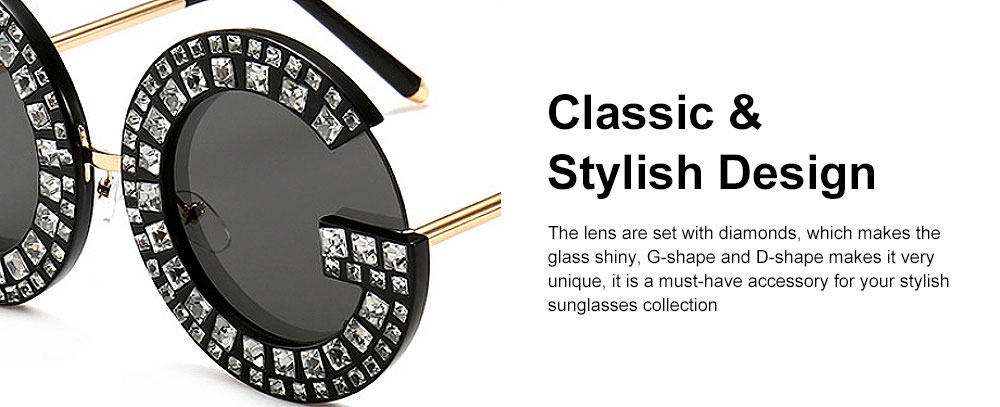 Sunglasses with Diamond Decoration Anti-Glare UV Protection PC Lens Stylish Design for Women 4