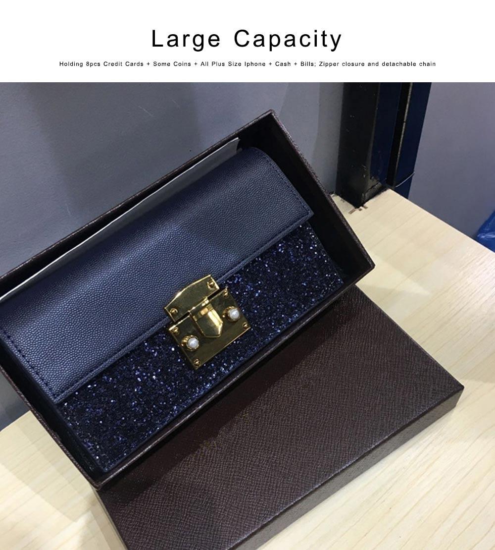 Women Long Purse Vintage Ladies PU Leather Wallets Sequin Handbags Slim Clutch Bag Make Up Bag Banquet Bag 4